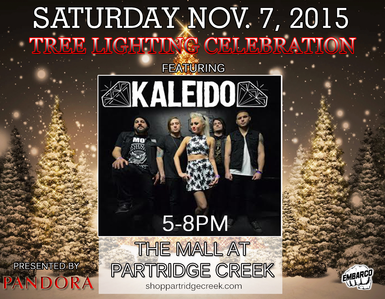 ... Partridge Creek Mall Tree Lighting Ceremony! Bring the Family and Start the Holiday Season off Right! & Kaleido|Partridge Creek Mall 7pm-10pm | Embarco Entertainment